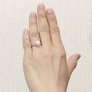 あこや本真珠 パールリング シンプル指輪 PT900 プラチナ デザイン カットリング 8ミリパール