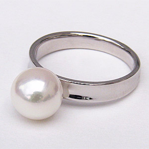 あこや本真珠 パールリング シンプル指輪 PT900 プラチナ デザインリング 8mmパール