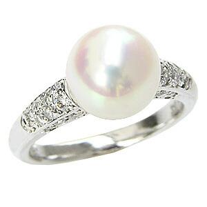 花珠 パールリング あこや本真珠 大珠 9mm 真珠指輪 アコヤパール 純プラチナ PT999 ダイヤモンド 0.20ct