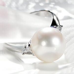 オーロラ花珠あこや本真珠10mm 指輪 パールリング  プラチナ