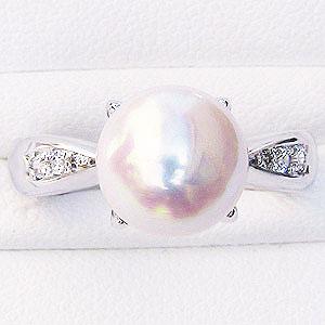 花珠真珠 パールリング 真珠指輪 あこや 花珠 パール 4本爪 純プラチナPT999 ダイヤモンド 0.09ct