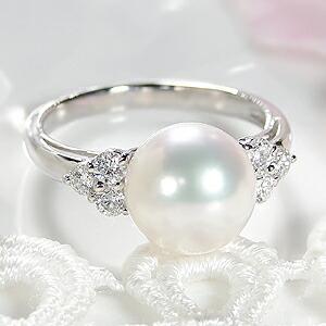 オーロラ花珠あこや本真珠9mm 指輪 パールリング ダイヤモンド0.30ct プラチナ
