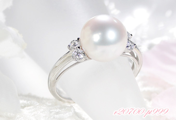 オーロラ花珠あこや本真珠9mm 指輪 パールリング ダイヤモンド0.20ct プラチナ