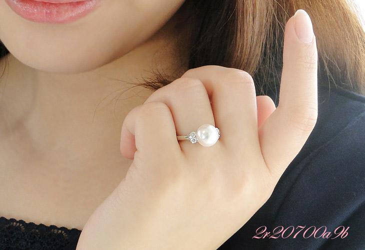 オーロラ花珠あこや本真珠9mm 指輪 パールリング ダイヤモンド0.20ct K18WG ホワイトゴールド