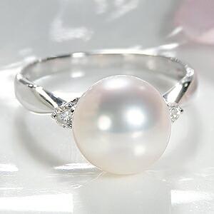 オーロラ花珠あこや本真珠9mm 指輪 純プラチナ PT999 パールリング