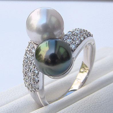真珠:リング:パール:8mm:タヒチ黒蝶真珠:グリーン系:南洋白蝶真珠:ブルーグレー系