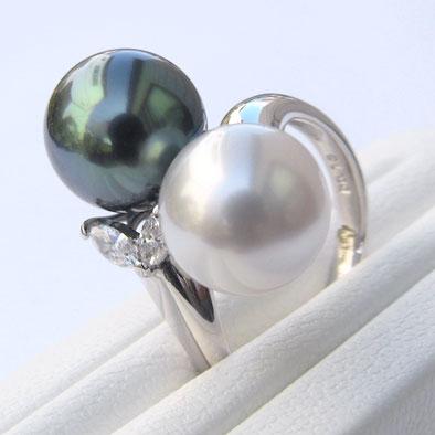 真珠:リング:パール:タヒチ黒蝶真珠:グリーン系:南洋白蝶真珠:ホワイト系