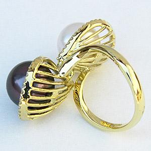 指輪 南洋白蝶真珠 タヒチ黒蝶真珠 K18 ゴールド ダイヤモンド マルチカラーパール リング