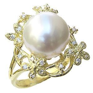 真珠:パール:リング:南洋白蝶真珠:12mm:ピンクホワイト系:ダイヤモンド:0.18ct:K18:ゴールド:指輪:ピンクホワイトパール