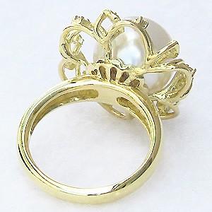 真珠:パール:リング:南洋白蝶真珠:12mm:ピンクホワイト系:ダイヤモンド:0.12ct:K18:ゴールド:指輪:ピンクホワイトパール