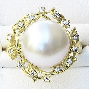 真珠:パール:リング:南洋白蝶真珠:12mm:ホワイト系:ダイヤモンド:0.14ct:K18:ゴールド:指輪:ピンクホワイトパール