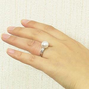 パール:真珠:指輪:南洋白蝶真珠:10mm:ピンクホワイト系:K18WG:ホワイトゴールド:ダイヤモンド:リング