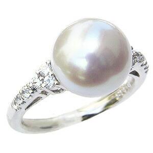 パール:真珠:指輪:南洋白蝶真珠:10mm:ピンクホワイト系:PT900:プラチナ:ダイヤモンド:0.22ct:リング