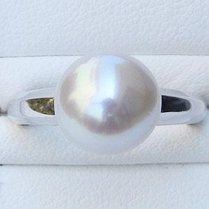 真珠:パール:リング:南洋白蝶真珠:10mm:ピンクホワイト系:K18WG:ホワイトゴールド:指輪