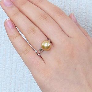 真珠:パール:リング:南洋白蝶真珠:10mm:ゴールド系:PT900:プラチナ:指輪