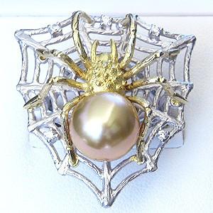 ゴールデンパール:真珠:指輪:南洋白蝶真珠:10mm:パール:リング:K18WG:ホワイトゴールド:K18:ゴールド:18金:ダイヤモンド:クモ:蜘蛛:スパイダー