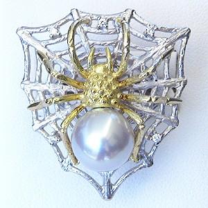 真珠パール 6月誕生石  リング 南洋白蝶真珠 径10mm ホワイト系 リング K10WG ホワイトゴールド K10 ゴールド 10金 ダイヤモンド クモ 蜘蛛 スパイダー