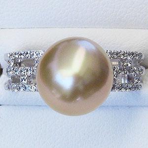 ゴールドパール:真珠:指輪:南洋白蝶真珠:10mm:ゴールド系:リング:プラチナ:PT900:ダイヤモンド:0.26ct:ゴールデンパール:金色
