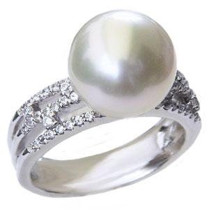 パール:真珠:指輪:南洋白蝶真珠:11mm:ホワイト系:PT900:プラチナ:ダイヤモンド:0.26ct:リング