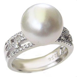 パール:真珠:指輪:南洋白蝶真珠:12mm:ホワイト系:リング:K18WG:ホワイトゴールド:ダイヤモンド:0.26ct