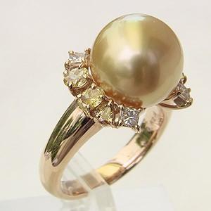 南洋白蝶真珠:リング:K18:ピンクゴールド