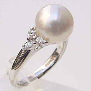南洋白蝶真珠:リング:ダイヤモンド:パール:ピンクホワイト系