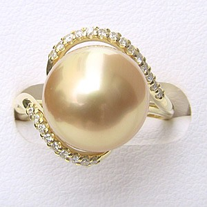 南洋白蝶真珠:リング:ダイヤモンド:パール:ゴールド系:12mm:K18:ゴールド:指輪