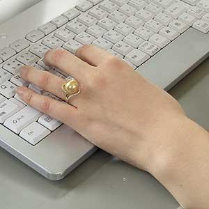 南洋白蝶真珠:K18:パール:リング:12mm:ゴールド系:ラウンド形:ダイヤモンド
