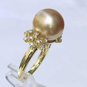 南洋白蝶真珠:リング:ダイヤモンド:パール:ゴールド系:12mm:K18:指輪