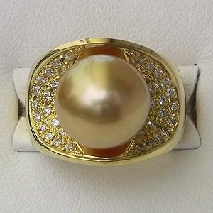 南洋白蝶真珠12mm:ダイヤモンド0.41ct:リングK18:真珠の色:ゴールド系