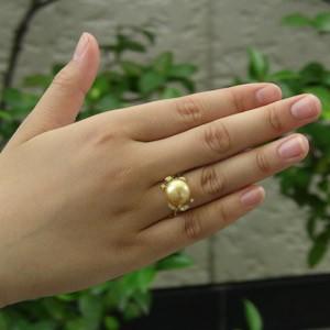 南洋白蝶真珠12mm:ダイヤモンド0.06ct:リング