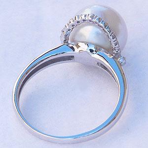 パール:南洋白蝶真珠:ダイヤモンド0.20ct:PT900:プラチナ:リング:ピンクホワイト系:10mm:ラウンド形