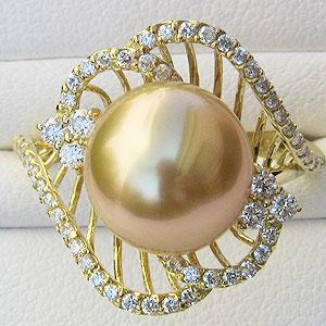 真珠:パール:リング:南洋白蝶真珠:10mm:ゴールド系:K18:ゴールド:指輪:ゴールデンパール