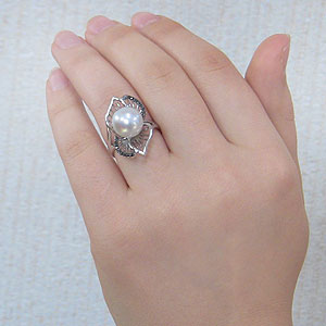 真珠:パール:リング:南洋白蝶真珠:10mm:ピンクホワイト系:ブラックダイヤモンド:K18WG:ホワイトゴールド:指輪