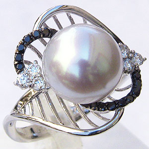 真珠:パール:リング:南洋白蝶真珠:10mm:ピンクホワイト系:ブラックダイヤモンド:ダイヤモンド:計0.27ct:K18WG:ホワイトゴールド:指輪