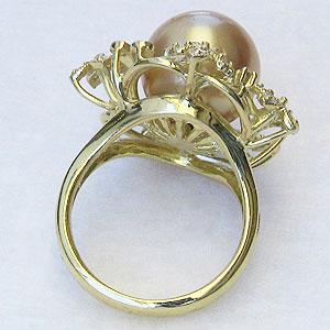 真珠:パール:リング:南洋白蝶真珠:12mm:ゴールド系:ダイヤモンド:0.24ct:ゴールデンパール:K18:ゴールド:指輪:18金