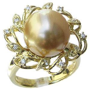 真珠:パール:リング:南洋白蝶真珠:12mm:ゴールド系:ダイヤモンド:0.12ct:K18:ゴールド:指輪:ゴールデンパール