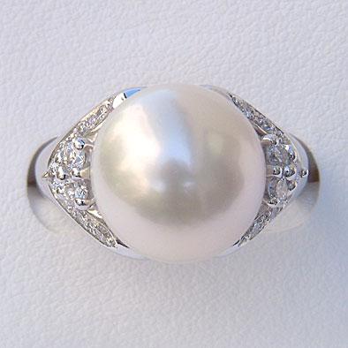 南洋白蝶真珠リング:ホワイト系:12mm