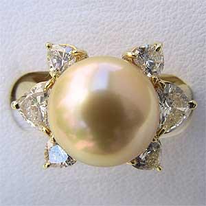 南洋白蝶真珠:K18:リング:11mm:イエローゴールド系:指輪:ダイヤモンド