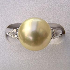 南洋白蝶真珠:リング:ダイヤモンド:パール:ライトイエロー系:11mm:PT900:プラチナ:指輪