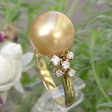 南洋白蝶真珠パール:リング:ゴールド系:11mm
