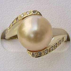 南洋白蝶真珠:リング:ダイヤモンド:パール:クリーム系