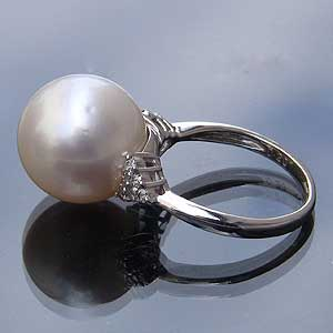 南洋白蝶真珠:PT900:プラチナリング:13mm:ピンクホワイト系:指輪