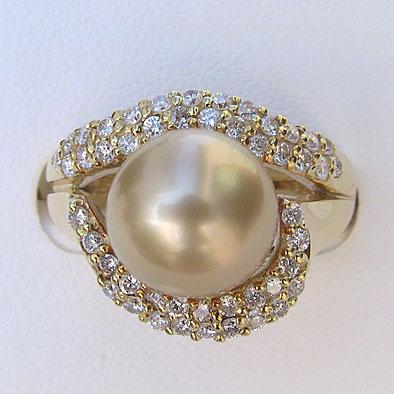 南洋白蝶真珠リング:ゴールド系:10mm