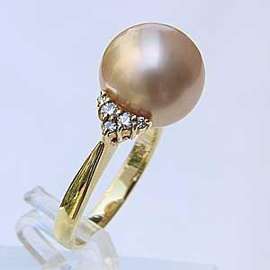 南洋白蝶真珠:K18:リング:約11.5mm:クリーム系:ラウンド形