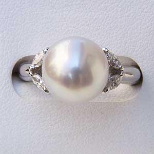 ブライダル リング パール 指輪 南洋真珠パール PT900プラチナリング ダイヤモンド