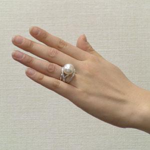 南洋白蝶真珠:リング:ダイヤモンド:パール:ピンク系:13mm:PT900:プラチナ:指輪