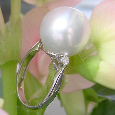 南洋白蝶真珠:リング:ホワイトピンク系:14mm