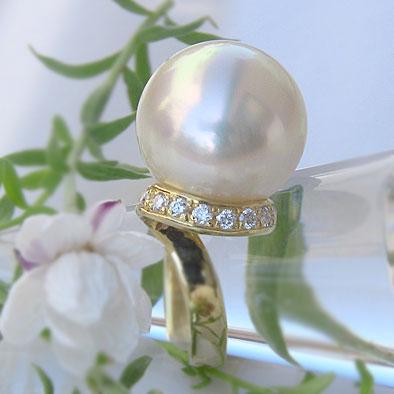 南洋白蝶真珠リング:ピンククリーム系:15mm
