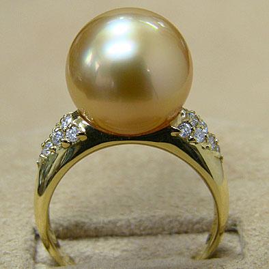 真珠:リング:パール:指輪:南洋白蝶真珠:ゴールド系:11mm